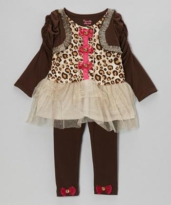 Brown Leopard Layered Tunic & Leggings - Toddler & Girls