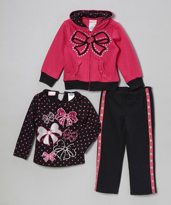 Hot Pink Bow Zip-Up Hoodie Set - Toddler