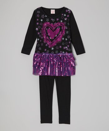 Purple Sparkle Tiered Tunic & Black Leggings - Toddler