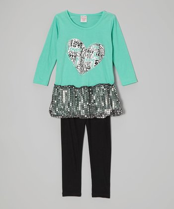 Mint Green Sparkle Skirted Tunic & Black Leggings - Toddler & Girls