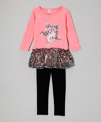 Peach Sparkle Skirted Tunic & Black Leggings - Toddler
