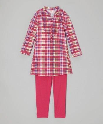 Fuchsia Plaid Henley & Leggings - Girls