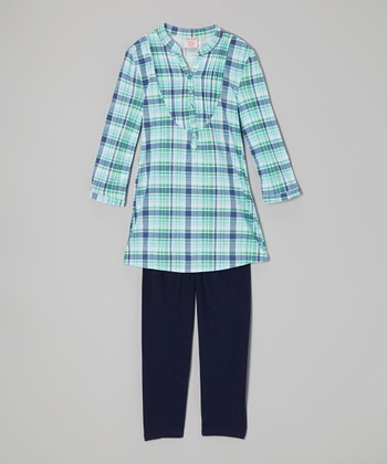 Navy Plaid Henley & Leggings - Girls