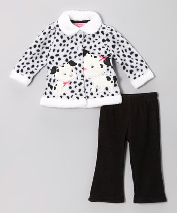 White Dalmatian Dot Jacket & Black Pants - Infant
