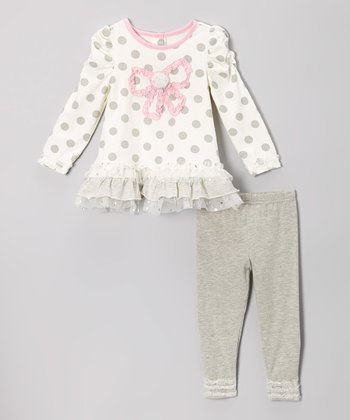 White Bow Ruffle Tunic & Gray Leggings - Infant