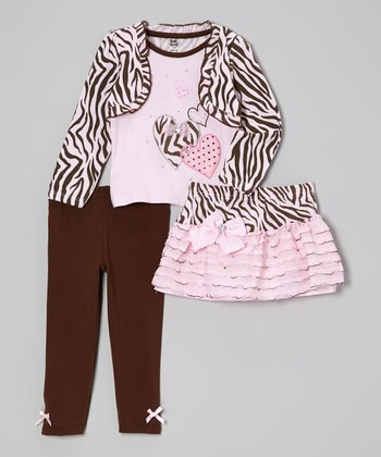 Light Pink Zebra Layered Top Set - Infant, Toddler & Girls