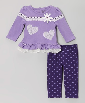 Purple Ruffle-Hem Tunic & Heart Leggings - Infant