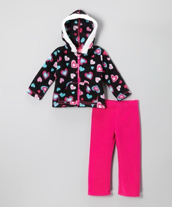 Black Heart Zip-Up Hoodie & Pink Pants - Infant & Girls