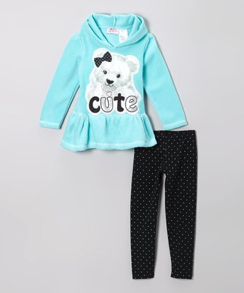 Aqua Teddy Bear Hoodie & Black Leggings - Girls