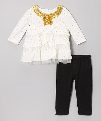 Light Beige Shimmer Collar Tunic & Black Leggings - Infant