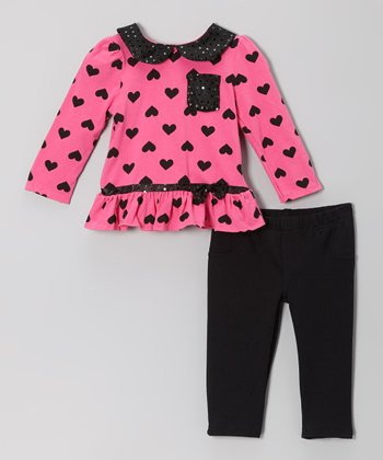 Pink Heart Shimmer Top & Black Pants - Infant