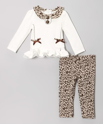 White Collared Top & Cheetah Leggings - Infant, Toddler & Girls