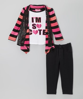 Pink 'So Cute' Layered Top & Charcoal Pants - Infant & Toddler