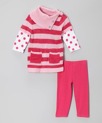 Pink Stripe Layered Tunic & Leggings - Infant, Toddler & Girls