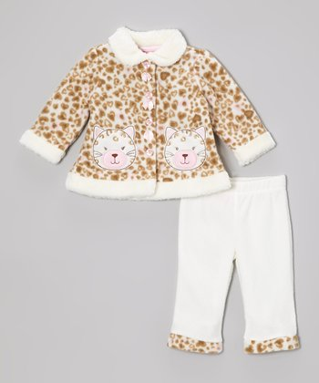 White & Beige Kitty Jacket & Pants - Infant