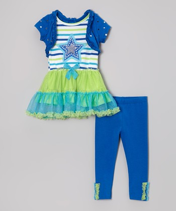 Blue Skirted Layered Tunic & Leggings - Infant