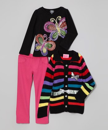 Black & Silver Stripe Butterfly Sweater Set - Infant, Toddler & Girls