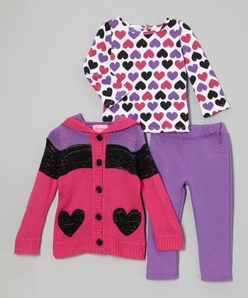 Pink & Purple Heart Hooded Sweater Set - Infant, Toddler & Girls