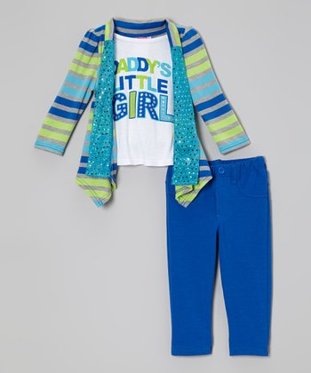 Blue Stripe Layered Top & Pants - Infant & Toddler