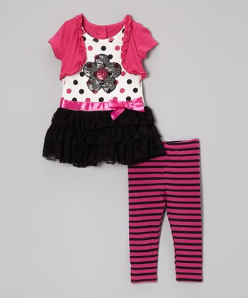 Pink Ruffle Layered Tunic & Stripe Leggings - Infant
