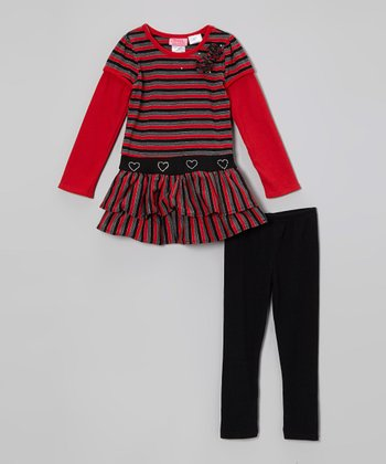 Red Stripe Layered Tunic & Black Leggings - Girls