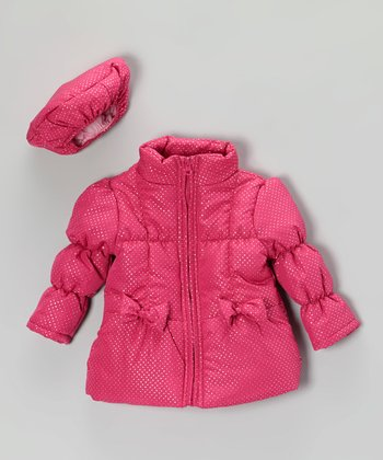 Pink Shimmer Puffer Coat & Hat - Infant, Toddler & Girls