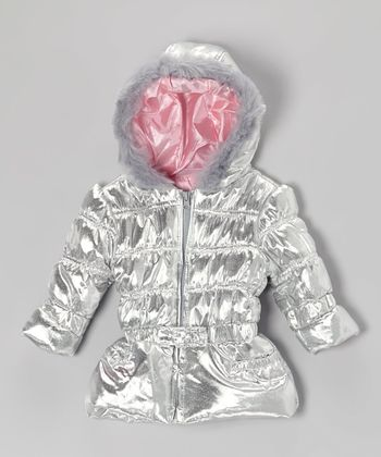 Silver Hooded Coat - Infant, Toddler & Girls