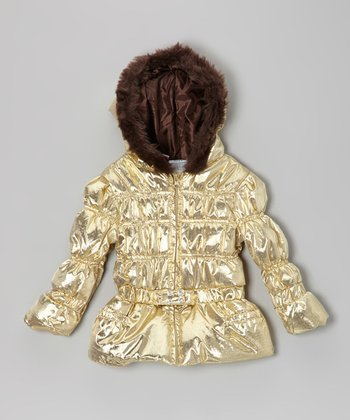 Gold Hooded Coat - Infant, Toddler & Girls