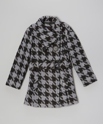 Gray & Black Houndstooth Belted Coat - Girls