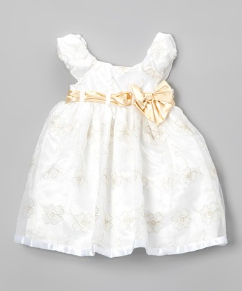 White & Gold Floral Puff-Sleeve Dress - Infant, Toddler & Girls