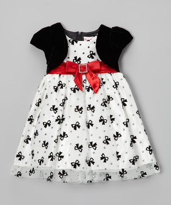 White & Black Bow Layered Dress - Infant, Toddler & Girls