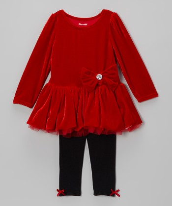 Red Bow Tunic & Black Leggings - Toddler