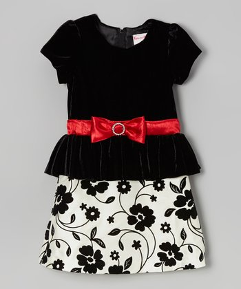 Black & White Floral Peplum Dress - Girls