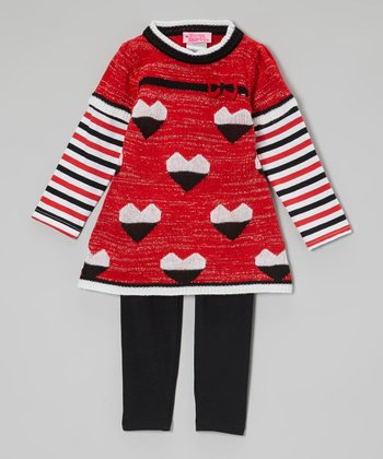 Red Heart Layered Tunic & Leggings - Toddler