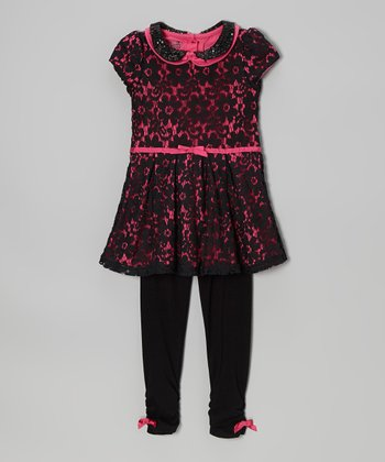 Pink & Black Lace Dress & Leggings - Girls