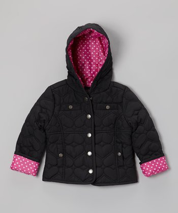 Black Heart Quilted Hooded Jacket - Infant, Toddler & Girls
