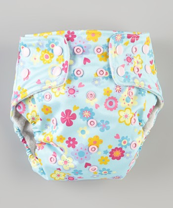 Blue Flowers Pocket Diaper