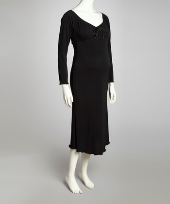 Black Maternity Peasant Dress - Women