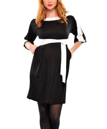 Black & White Color Block Maternity Dress - Women