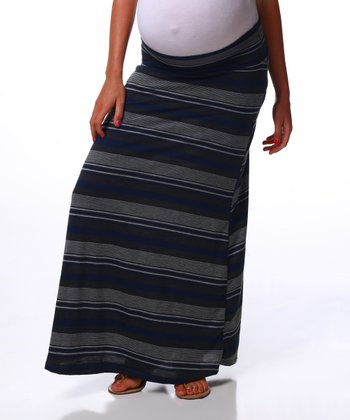 Charcoal Navy Stripe Maternity Maxi Skirt - Women