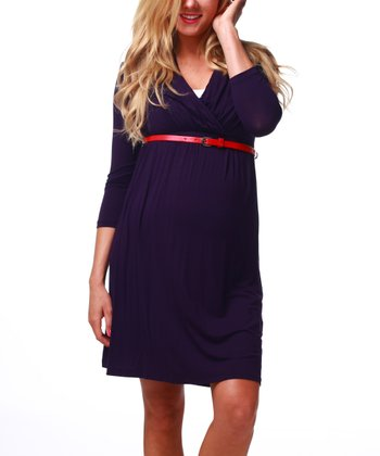 Purple Belted Maternity & Nursing Three-Quarter Sleeve Dress - Women