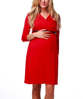 Red Belted Maternity & Nursing Dress