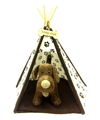 Dark Brown & White Paw Print Teepee Pet Bed
