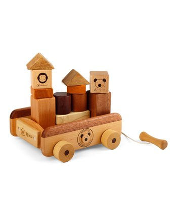 Wooden Blocks & Pull Wagon Set