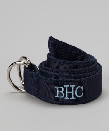 Navy & Light Blue Monogram D-Ring Belt - Toddler & Boys