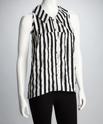 Black & White Stripe Sleeveless Hi-Low Button-Up