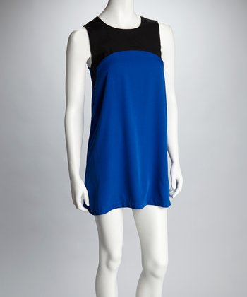 Cobalt & Black Color Block Shift Dress