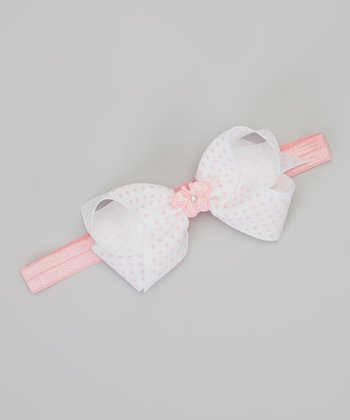 Pink & White Polka Dot Butterfly Bow Headband