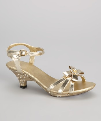 Gold Bow & Flower Sandal