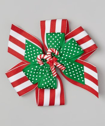 Red & White Stripe Candy Cane Clip